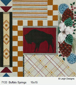 Leigh Designs - Hand-painted Needlepoint Canvases - Cabin Fever - Buffalo Springs