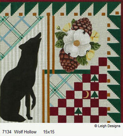 Leigh Designs - Hand-painted Needlepoint Canvases - Cabin Fever - Wolf Hollow