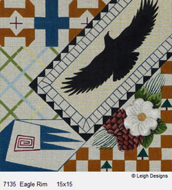 Leigh Designs - Hand-painted Needlepoint Canvases - Cabin Fever - Eagle Rim