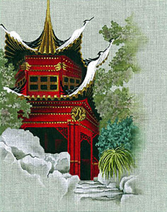 Leigh Designs - Hand-painted Needlepoint Canvases - Pagodas - Temple of 1000 Cranes