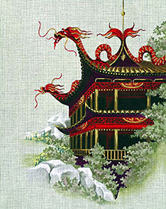 Leigh Designs - Hand-painted Needlepoint Canvases - Pagodas - Fortress of the Red Dragon