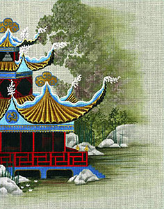 Leigh Designs - Hand-painted Needlepoint Canvases - Pagodas - Pavilion of the Great Sea
