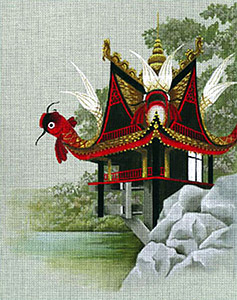 Leigh Designs - Hand-painted Needlepoint Canvases - Pagodas - House of Koi