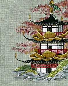 Leigh Designs - Hand-painted Needlepoint Canvases - Pagodas - Palace of the Golden Lotus