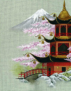 Leigh Designs - Hand-painted Needlepoint Canvases - Pagodas - Hall of Sacred Bells