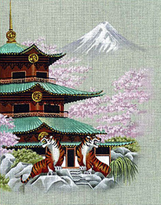 Leigh Designs - Hand-painted Needlepoint Canvases - Pagodas - Shrine at Tiger Pass