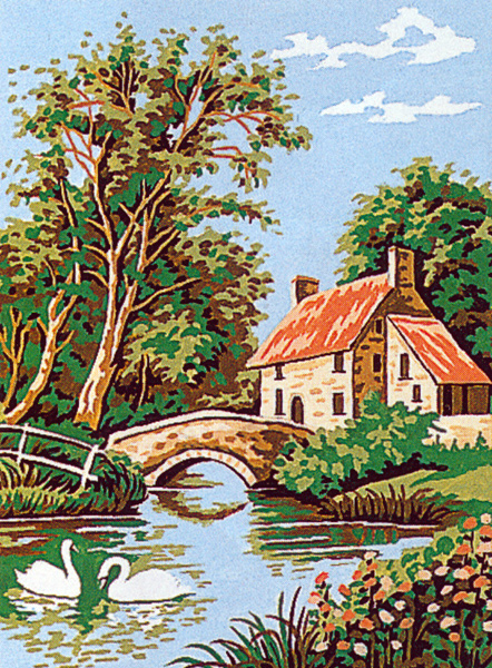Margot Creations de Paris Needlepoint - Small Needlepoint Canvases - Le Hameau (The Hamlet)