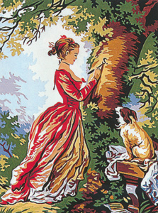 Margot Creations de Paris Needlepoint (Le Chiffre d'Amore) The Figure of Love by J.H. Fragonard Small Canvas
