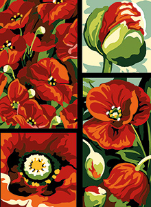 Margot Creations de Paris Needlepoint - Small Needlepoint Canvases - Coquelicots (Poppies)