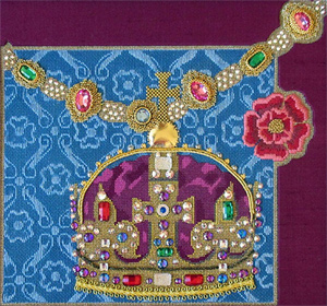 Leigh Designs - Hand-painted Needlepoint Canvases - Crown Jewels - King