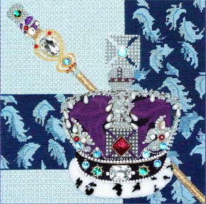 Leigh Designs - Hand-painted Needlepoint Canvases - Crown Jewels - Queen