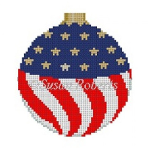 Susan Roberts Needlepoint Designs - Hand-painted Canvas - American Flag Ornament