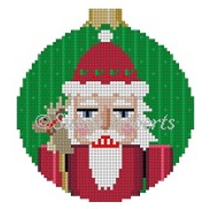 Susan Roberts Needlepoint Designs - Hand-painted Canvas - Santa Nutcracker Ornament