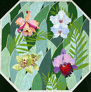 Jeweled Orchids - Hand Painted Needlepoint Canvas from dede's Needleworks