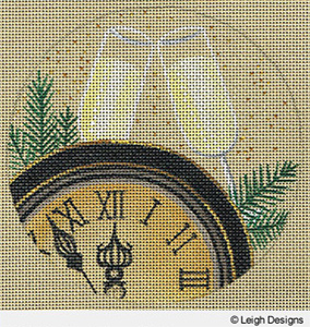 Leigh Designs - Hand-painted Needlepoint Canvases - Holiday Collection - New Year's Eve