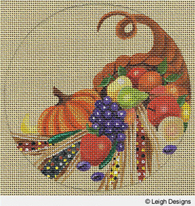 Leigh Designs - Hand-painted Needlepoint Canvases - Holiday Collection - Thanksgiving