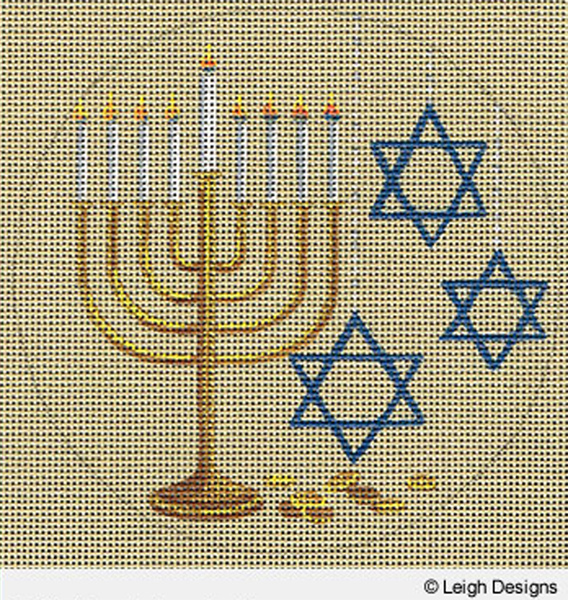 Leigh Designs - Hand-painted Needlepoint Canvases - Holiday Collection - Hanukkah
