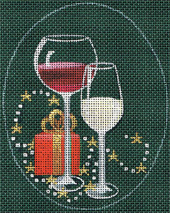 Leigh Designs - Hand-painted Needlepoint Canvases - Christmas Cocktails - Red & White