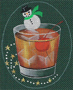 Leigh Designs - Hand-painted Needlepoint Canvases - Christmas Cocktails - Perfect Manhattan