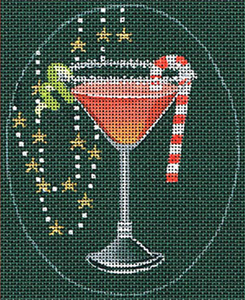 Leigh Designs - Hand-painted Needlepoint Canvases - Christmas Cocktails - Cosmopolitan