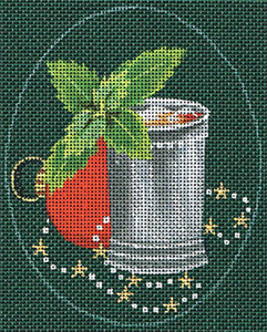 Leigh Designs - Hand-painted Needlepoint Canvases - Christmas Cocktails - Mint Julep