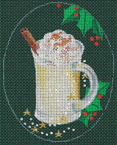 Leigh Designs - Hand-painted Needlepoint Canvases - Christmas Cocktails - Eggnog