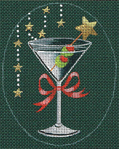 Leigh Designs - Hand-painted Needlepoint Canvases - Christmas Cocktails - Martini