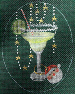 Leigh Designs - Hand-painted Needlepoint Canvases - Christmas Cocktails - Margarita