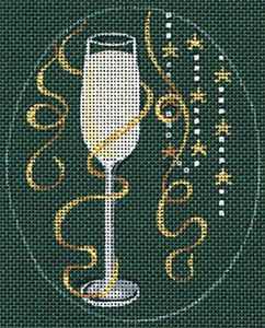 Leigh Designs - Hand-painted Needlepoint Canvases - Christmas Cocktails - Champagne