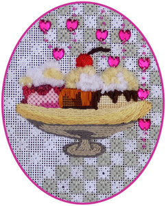 Leigh Designs - Hand-painted Needlepoint Canvases - Ice Cream Social - Banana Split