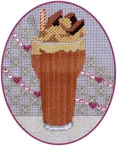 Leigh Designs - Hand-painted Needlepoint Canvases - Ice Cream Social - Chocolate Malt