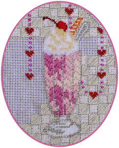 Leigh Designs - Hand-painted Needlepoint Canvases - Ice Cream Social - Cherry Soda