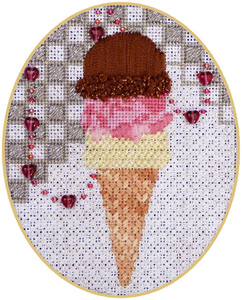 Leigh Designs - Hand-painted Needlepoint Canvases - Ice Cream Social - Triple Dip