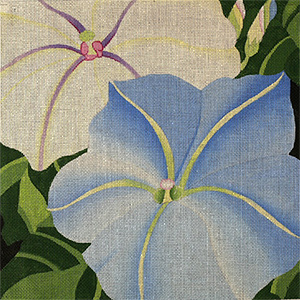 Giant Morning Glories - Hand Painted Needlepoint Canvas from dede's Needleworks