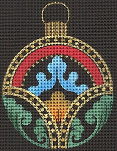 Leigh Designs - Hand-painted Needlepoint Canvases - Russian Dynasty Ornaments -  Alexis Ornament/Coaster