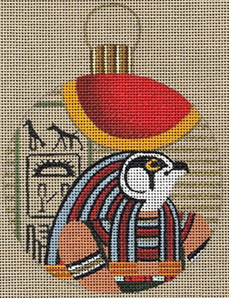 Leigh Designs - Hand-painted Needlepoint Canvases - Egyptian Dynasty Ornaments -  Ra Ornament/Coaster