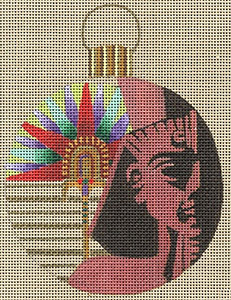 Leigh Designs - Hand-painted Needlepoint Canvases - Egyptian Dynasty Ornaments -  Ramses Ornament/Coaster