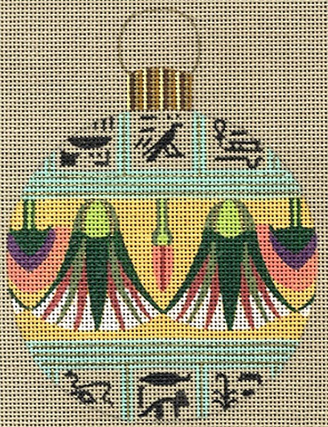 Leigh Designs - Hand-painted Needlepoint Canvases - Egyptian Dynasty Ornaments -  Pepi Ornament/Coaster