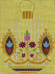 Leigh Designs - Hand-painted Needlepoint Canvases - Moghul India Dynasty Ornaments -  Indus Ornament/Coaster
