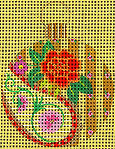 Leigh Designs - Hand-painted Needlepoint Canvases - Moghul India Dynasty Ornaments -  Babar Ornament/Coaster