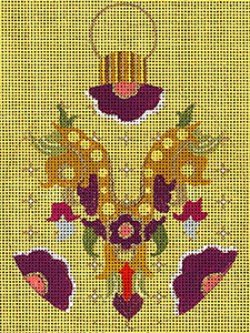 Leigh Designs - Hand-painted Needlepoint Canvases - Moghul India Dynasty Ornaments -  Jahan Ornament/Coaster