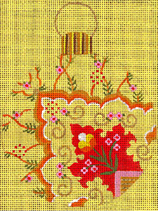 Leigh Designs - Hand-painted Needlepoint Canvases - Moghul India Dynasty Ornaments -  Chandra Ornament/Coaster