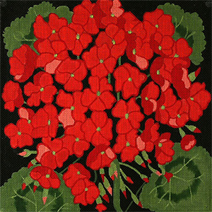 Giant Geranium - Hand Painted Needlepoint Canvas from dede's Needleworks