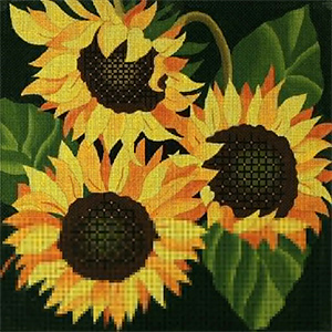Giant Sunflower - Hand Painted Needlepoint Canvas from dede's Needleworks