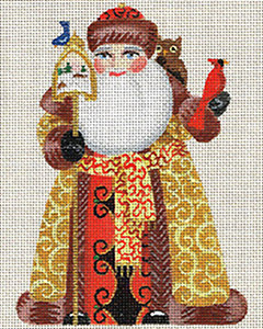Leigh Designs - Hand-painted Needlepoint Canvases - Russian Santa - Birdland