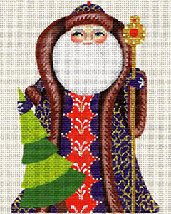 Leigh Designs - Hand-painted Needlepoint Canvases - Russian Santa - Forever Green