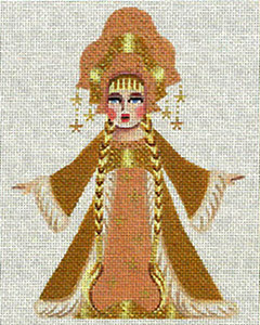 Leigh Designs - Hand-painted Needlepoint Canvases - Winter Maidens - Golden Maiden