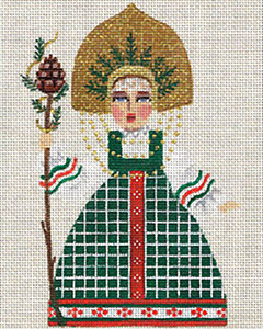 Leigh Designs - Hand-painted Needlepoint Canvases - Winter Maidens - Woodland Belle