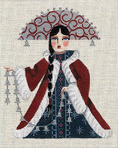 Leigh Designs - Hand-painted Needlepoint Canvases - Winter Maidens - Silver Bells