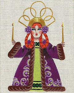 Leigh Designs - Hand-painted Needlepoint Canvases - Winter Maidens - Candlelight